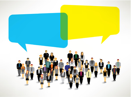 a large group of business people gather together vector icon design Vettoriali