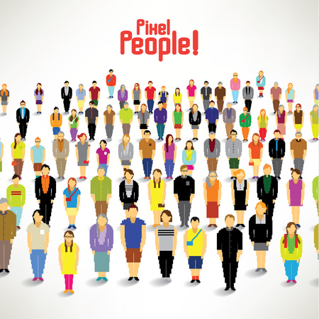 multiple targets: A big group of people gather together vector design