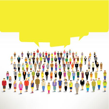 gruppe von menschen: Eine gro�e Gruppe von Menschen zusammen und sprechen gemeinsam Vektor-Design