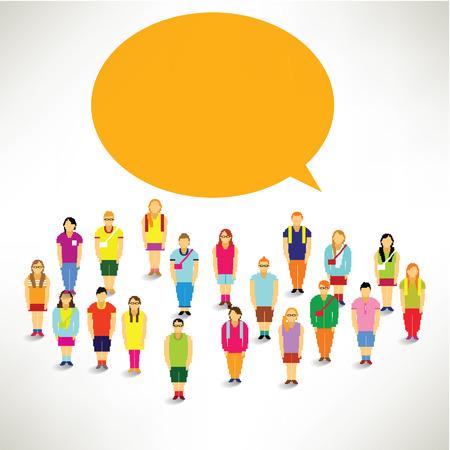 A Big Group of Children Gather Together Vector Design
