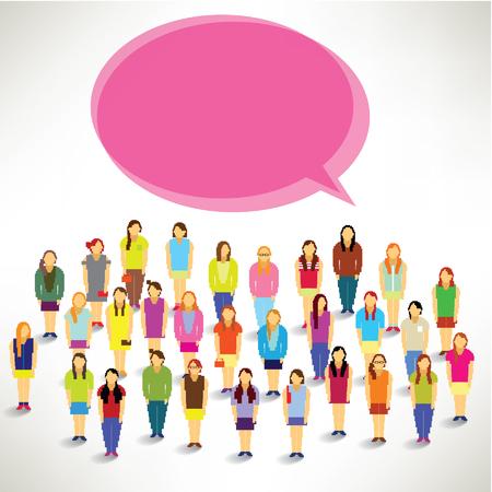 A Big Group of Women Gather Together Vector Design Illustration