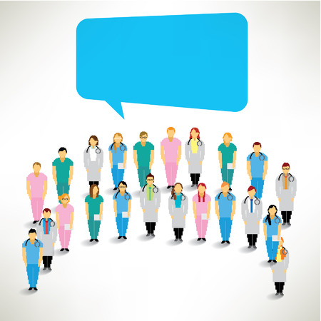 vector medical: A Big Group of Medical Team Gather Together Vector Design Illustration