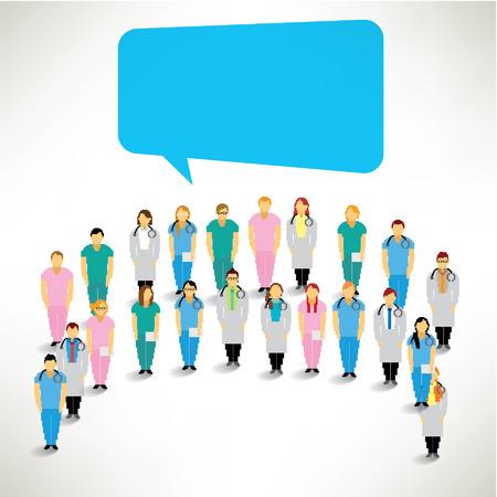 equipe medica: Un grande gruppo di Medical Team si riuniscono Vector Design
