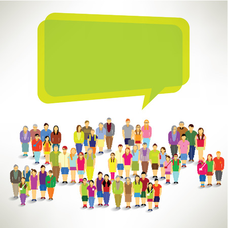Een grote groep van de familie te verzamelen en Talk Samen Vector Design Stock Illustratie