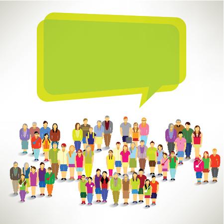 Un grand groupe de la famille se réunissent et parlent ensemble Vector Design Banque d'images - 23080414