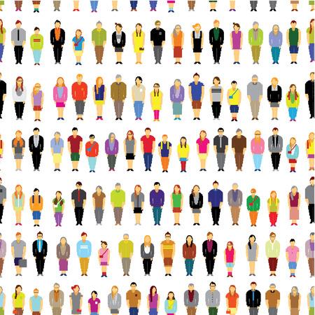Naadloze Vector Design - Een grote groep mensen bijeen Together Stock Illustratie