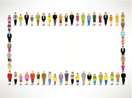 Een grote groep mensen bijeen Samen Vector Design Stock Illustratie