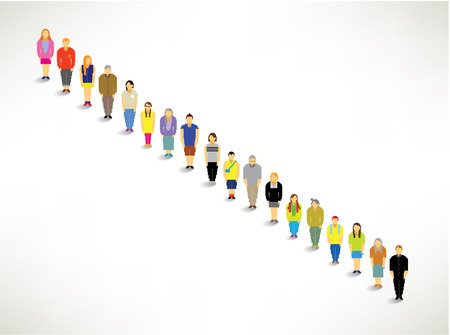 queuing: A Big Group of Queuing Up Together Vector Design