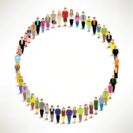 mensen kring: Een grote groep mensen bijeen Samen In Circle Shape Vector Design