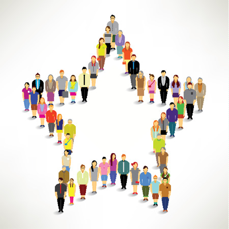 A Big Group of People Gather Together In Star Shape Vector Design Vector