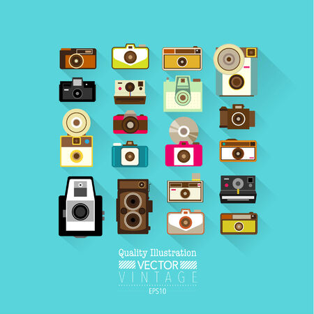 new technology: Vintage Flat Camera Vector Icon Set Illustration