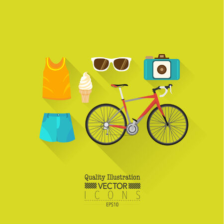Lifestyle Flat Vector Icon Set   Bicycle, Sunglasses, Ice cream, Camera etc  Illustration