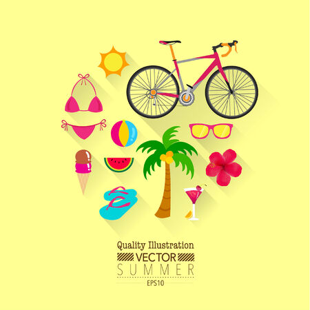 Summer Flat Vector Icon Set : Bikini, Bicycle, Beach, Flower, Ice Cream, etc. Vector