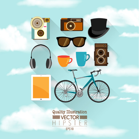 Hipster Flat Vector Icon Set : Bicycle, Vintage, Camera, Hat, Sunglasses, Tablet. Illustration