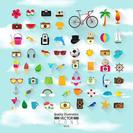 lomography: Lifestyle Flat Vector Icon Set : Summer, Hipster, Vintage, Camera, Beach, Sky, Holiday, etc.