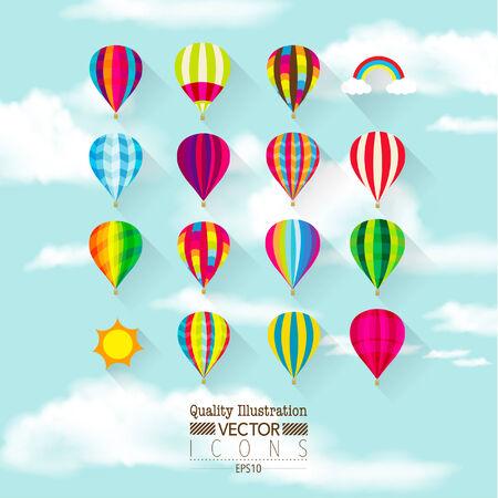 air balloon: Flat Hot Air Balloon Vector Icon Set