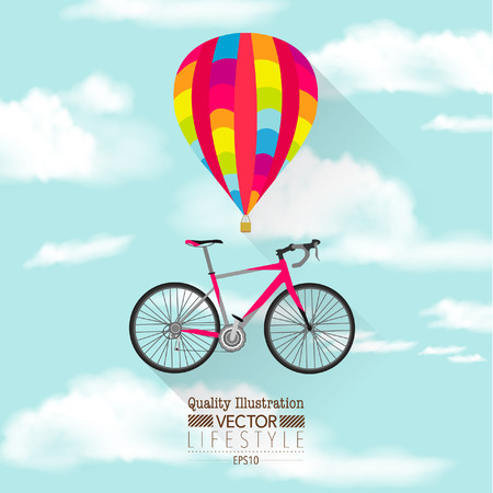 Flat Hot Air Balloon and Bicycle Vector Icon Vector
