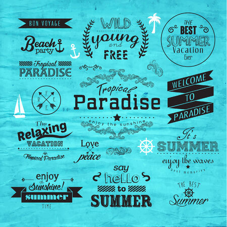 badge vector: Vintage Typography Summer Holiday Badge Vector Design