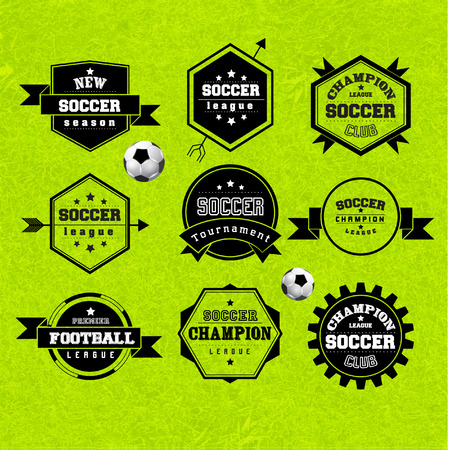 premier league: Soccer Football Typography Badge Design Element Vector