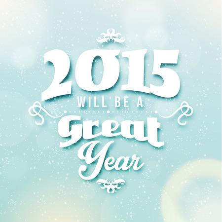 Happy New Year 2015 Season Greetings Quote Vector Design Vettoriali