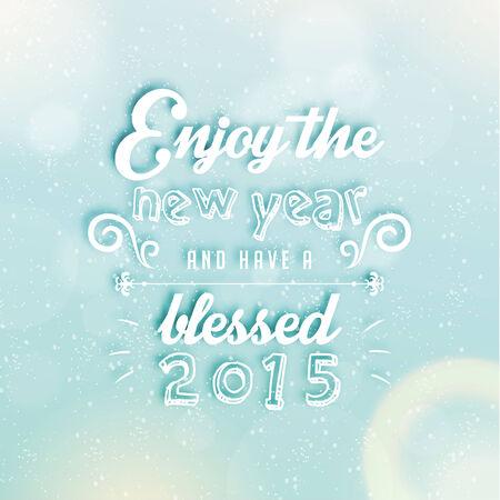 season greetings: Happy New Year 2015 salutations de saison Citation Vector Design