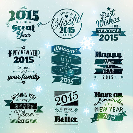season       greetings: Happy New Year 2015 Season Greetings Quote Vector Design Illustration
