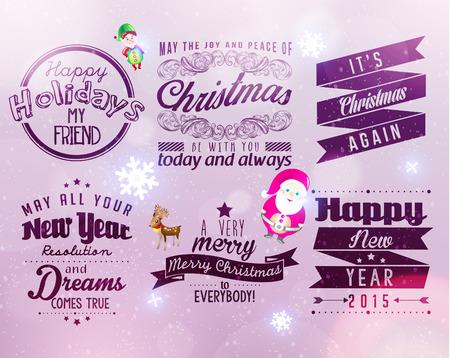 season greetings: Joyeux No�l et Bonne Ann�e 2015 salutations de saison Citation Vector Design