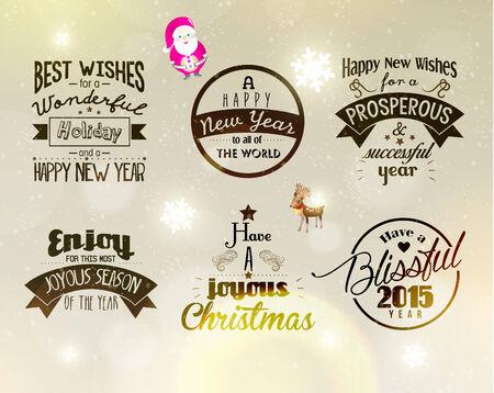 season greetings: Joyeux No�l et Bonne Ann�e 2015 salutations de saison Quote Vector Design Illustration