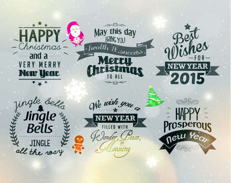 season       greetings: Merry Christmas and Happy New Year 2015 Season Greetings Quote Vector Design