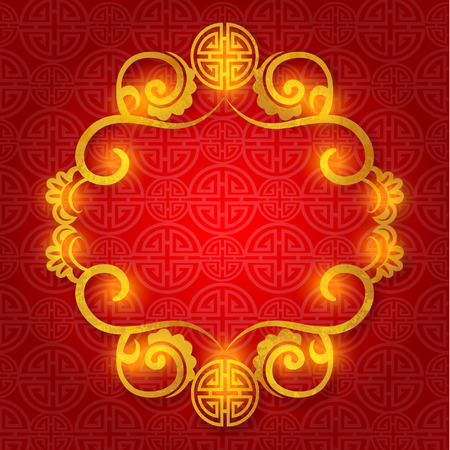 Oriental Chinese New Year Gold Frame Vector Design Vettoriali