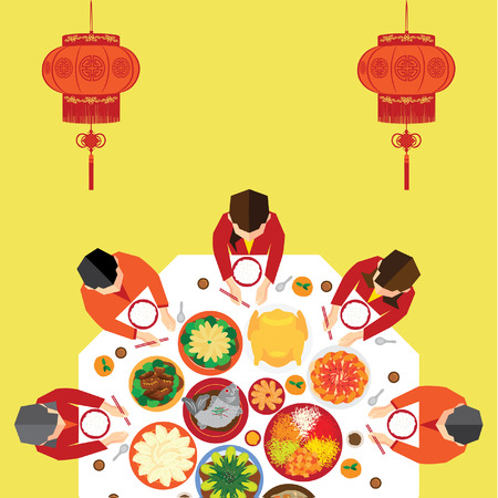 chinese new year food: Chinese New Year Reunion Dinner Vector Design Illustration