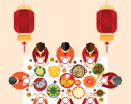 Chinese New Year Reunion Dinner Vector Design 向量圖像