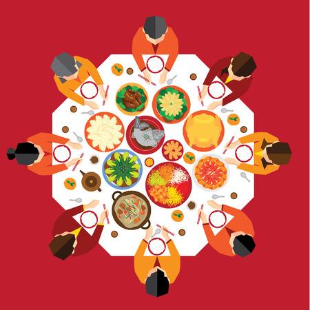 illustration of food: A�o Nuevo Chino Reunion Cena de dise�o vectorial Vectores
