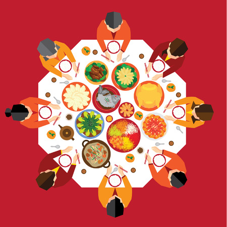 eating food: Chinese New Year Reunion Cena Vector Design