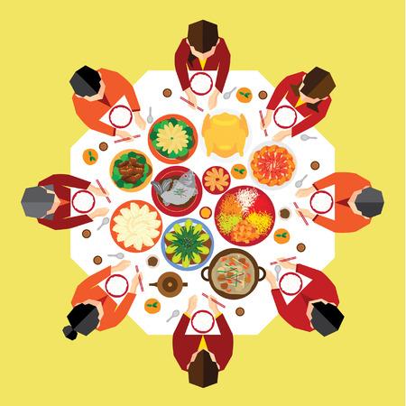 Año Nuevo Chino Reunion Cena de diseño vectorial Foto de archivo - 35001054