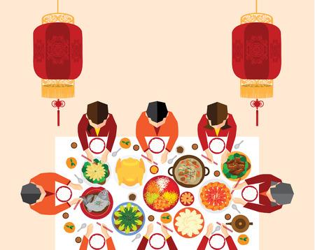 Chinees Nieuwjaar reünie diner Vector Ontwerp Stock Illustratie