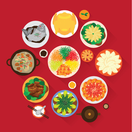 Chinese New Year Reunion Dinner Vector Design Ilustracja