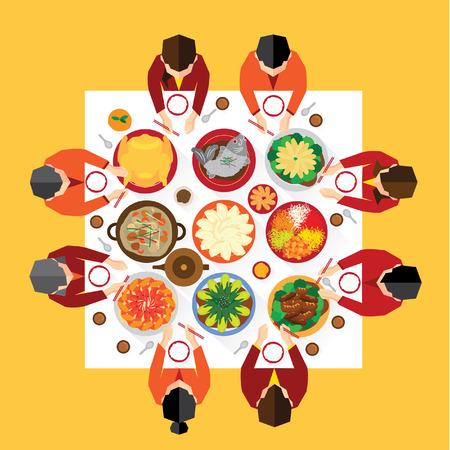 Año Nuevo Chino Reunion Cena de diseño vectorial Foto de archivo - 35001057