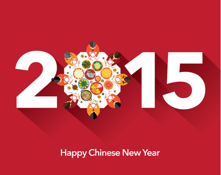 Chinese New Year Reunion Dinner Vector Design Illustration