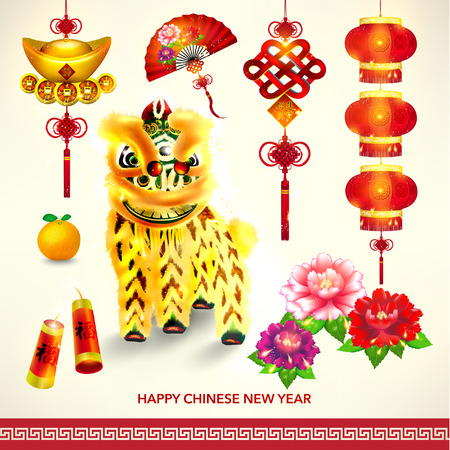 chinese new year card: Happy Chinese New Year Decoration Set Vector Design