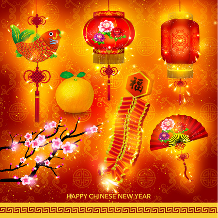 fire crackers: Happy Chinese New Year Decoration Set Vector Design