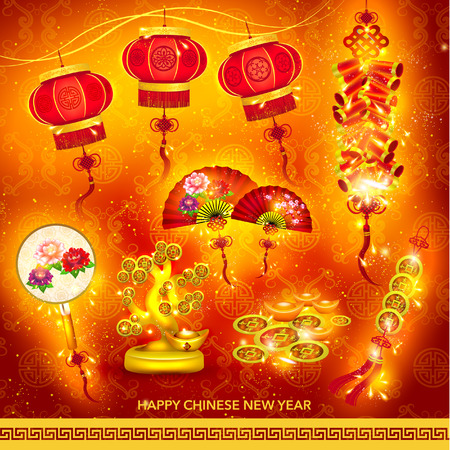 new year celebration: Happy Chinese New Year Decoration Set Vector Design