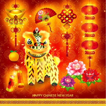 fan dance: Happy Chinese New Year Decoration Set Vector Design