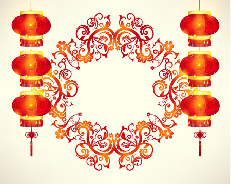 prosperous: Happy Chinese New Year Frame Decoration Vector Design