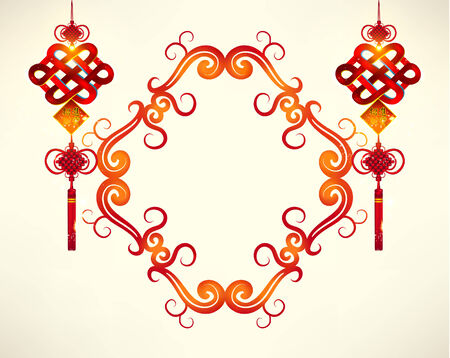 chinese new year element: Happy Chinese New Year Frame Decoration Vector Design
