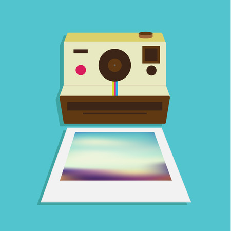 Vintage Flat Camera Icon Vector Illustration Design