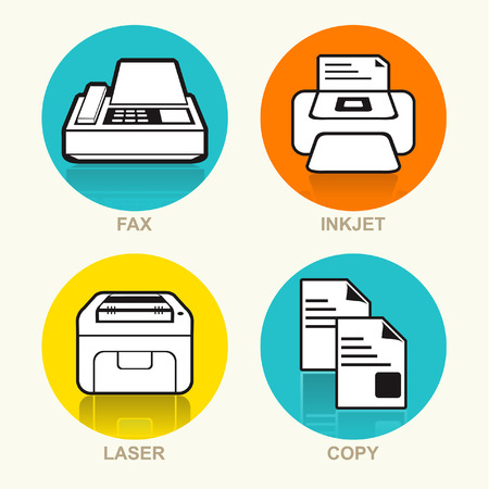 fax machine: Printing Machine, Fax Machine, Photocopy Machine Vector Icon Set