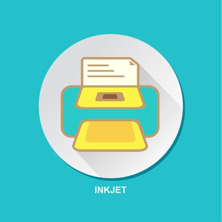 inkjet: Inkjet Printing Machine Vector Icon Set Design Illustration