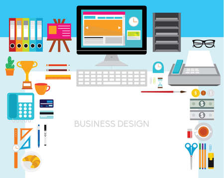 internet phone: Creative Vector Design Elements for Business Office Workplace Illustration