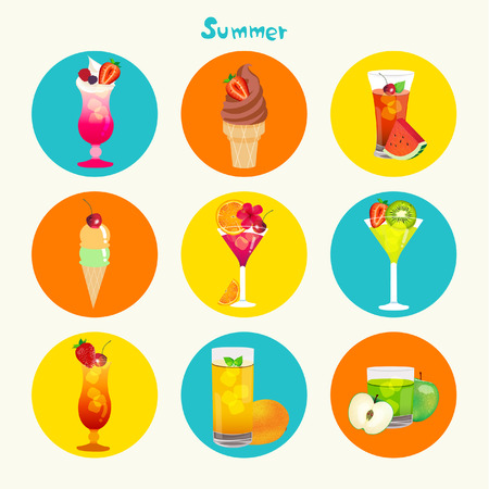 caribbean beach: Tropical Summer Juice Vector Icon Set Design
